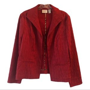 Chico's Red Open Front Crinkle Style Jacket